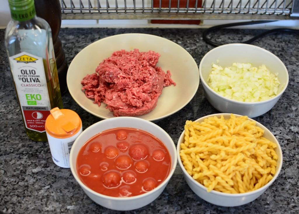Ingredienser till kvällens one pot pasta.