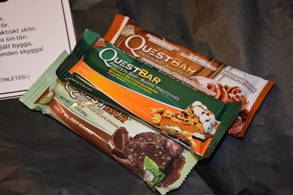 Questbars från Quest Nutrition - Questbar Cinnamon Roll, Questbar Peanut Butter Supreme, Questbar Mint Chocolate Chunk.