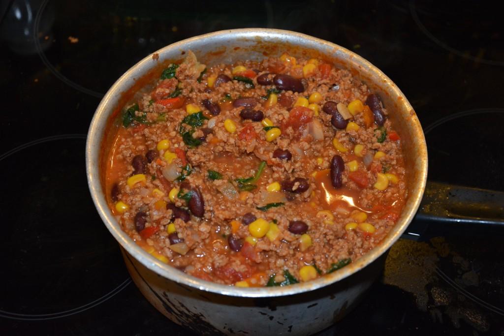 Tacofyllning till nyttig och god vegetarisk tacotårta.