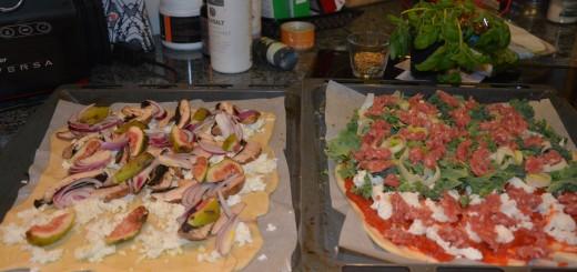 Premiumpizza på väg in i ugnen