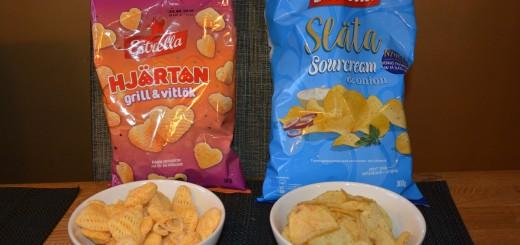 Sourcream & Onion på släta chips och Hjärtan med smak av grill och vitlök