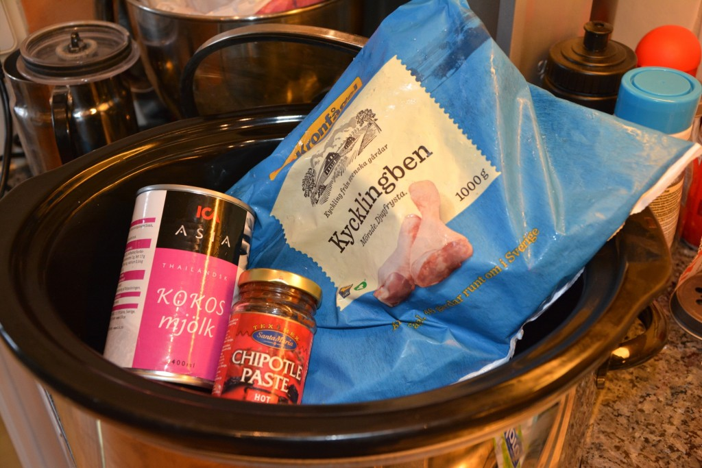 Pulled chicken thaistyle i Crock-Pot