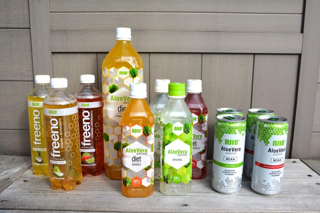 Njies dryckessortiment - Aloe Vera Dryck, Aloe Vera Energy och Freeno.