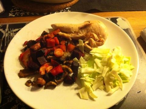 Kyckling och ugnsbakade grönsaker