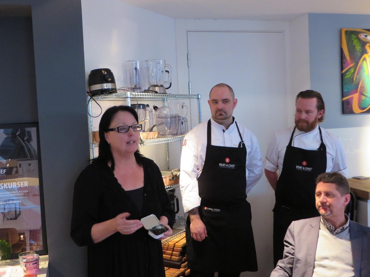Tuija Räsänen, ägare av Choklad & Lakrits Sverige, arrangör för Lakritsfestivalen och kockar från Rent-a-chef