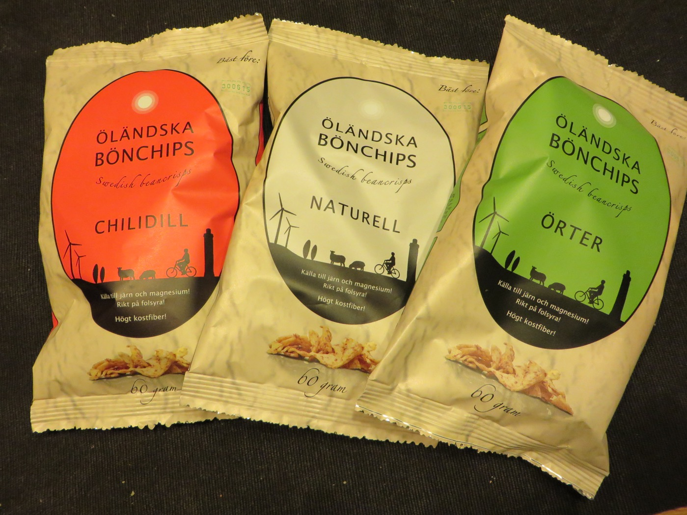 Öländska bönchips med olika kryddningar