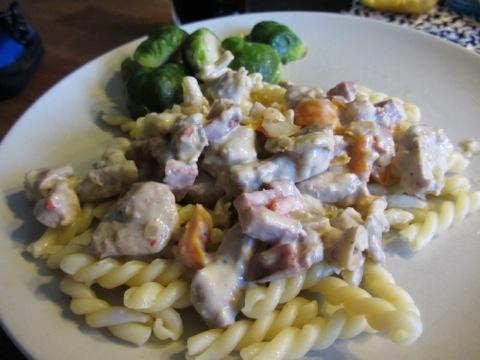 Fläskfilégryta med pasta