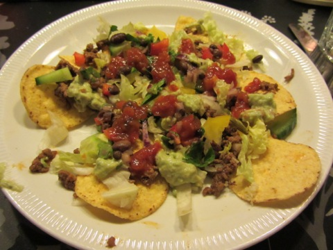 En av mina portioner tacos - här min nacho de luxe!