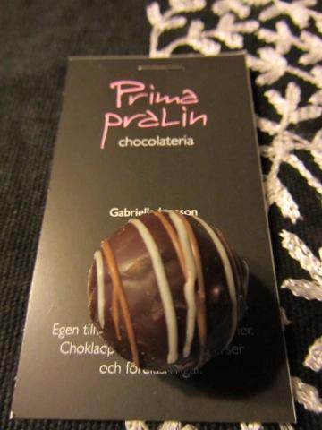 Saltlakritspralin från Prima Pralin