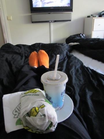 Picknick framför tvn