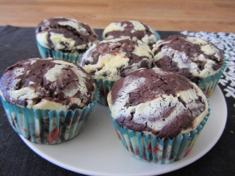 Choklad- och cheesecakemuffins
