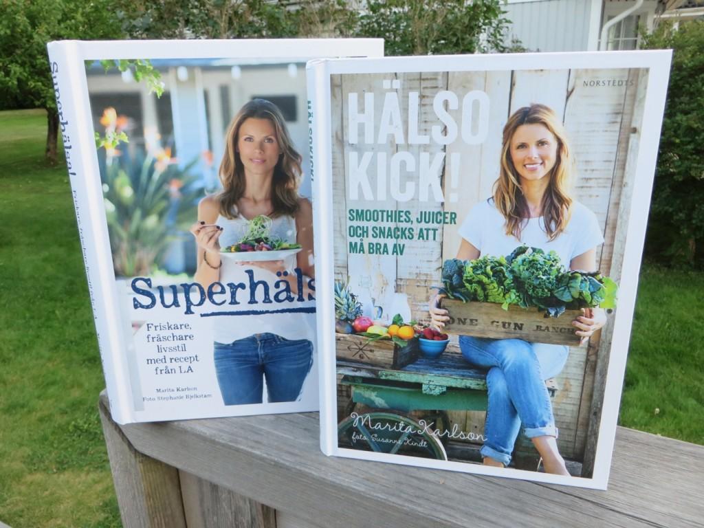 Marita Karlsons två inspirerande kokböcker - Hälsokick och Superhälsa.