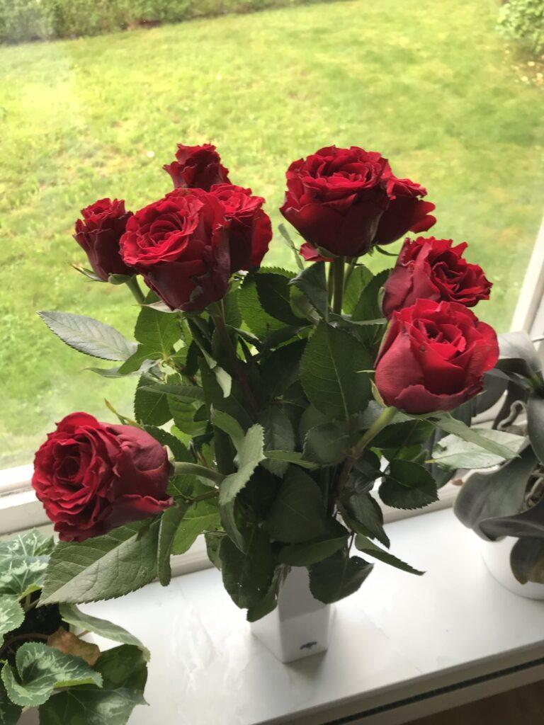 Röda rosor fick jag på dagen D!