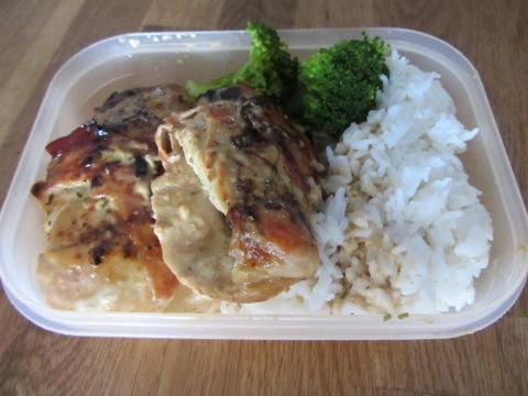 Kyckling med parmaskinka i balsamsås, ris och grönsaker