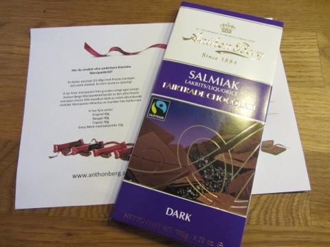 Choklad med lakrits och salmiak från Anthon Berg