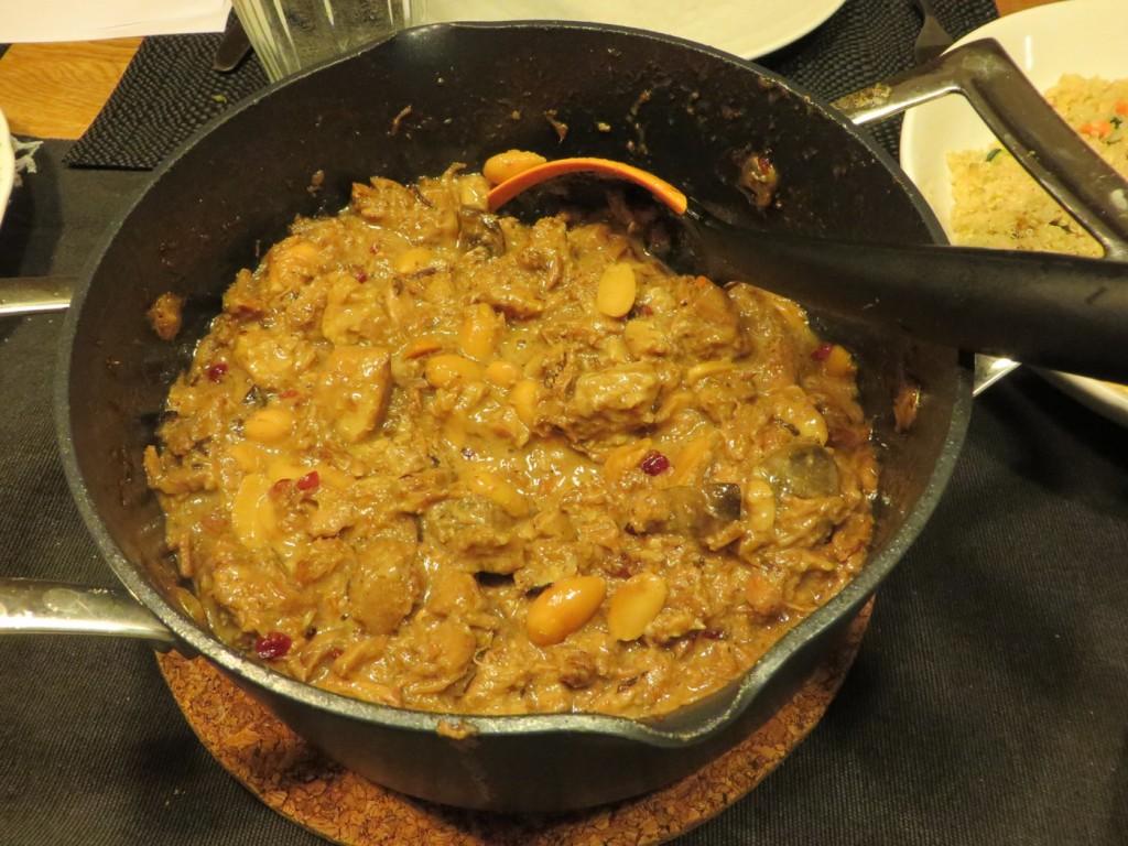 Fläskkarrégryta med mandel och russin i Crock-Pot