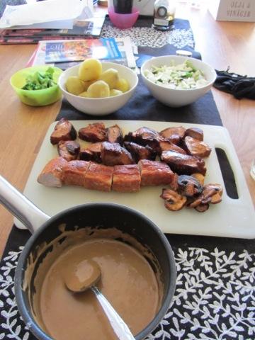 Kött och potatis till middag