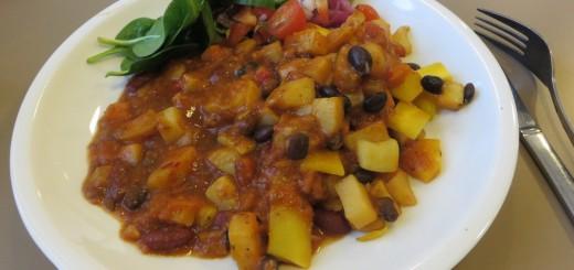 Vacker och smakrik vegansk maträtt