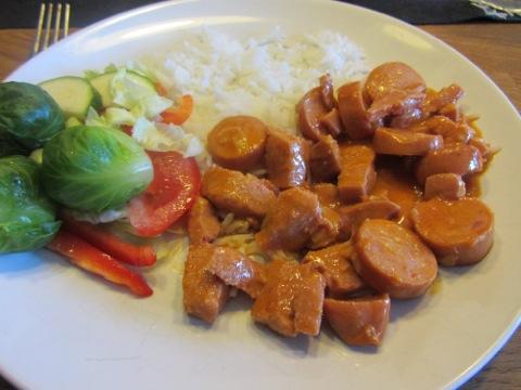 Korv Stroganoff med ris och grönsaker