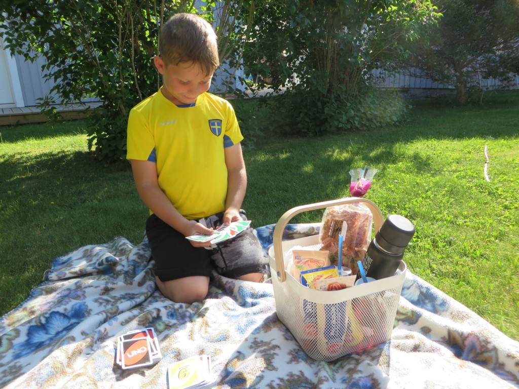 Mellis-picknick hemma på tomten