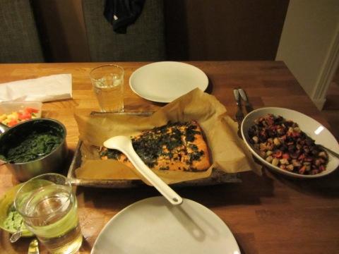 Middagen är serverad första dagen efter jullovet