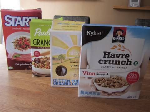 Fyra olika sorters granola