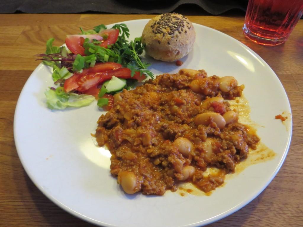 Första portionen chili con carne