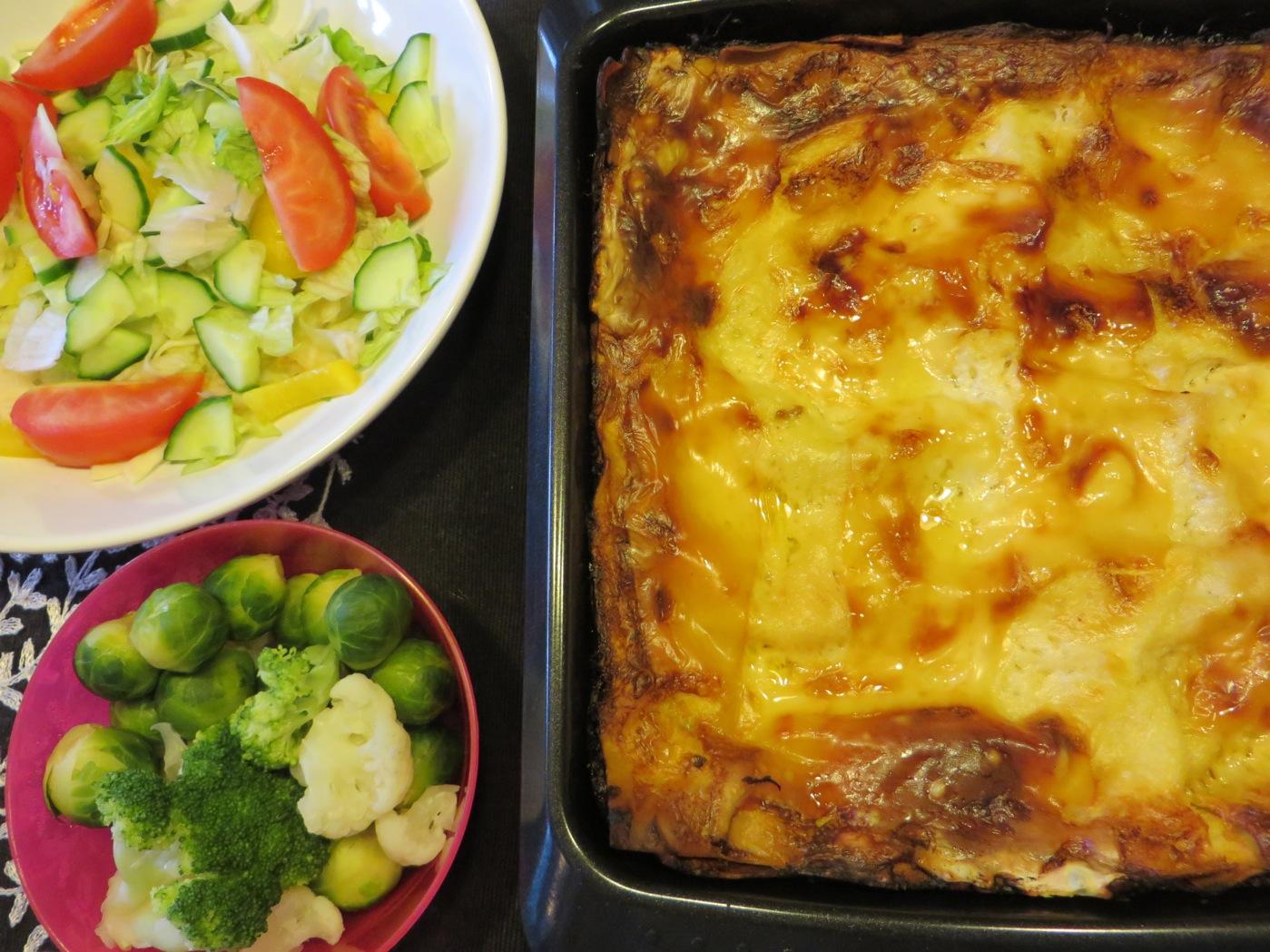 Lasagne och grönsaker