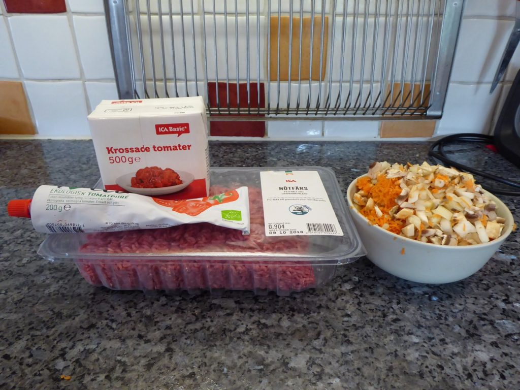 Ingredienser till Bolognese i Crock Pot Express