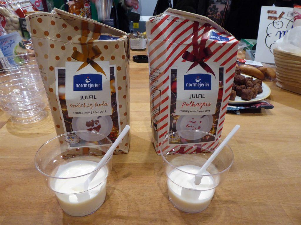 Julfil med smak av polkagris respektive knäckig kola.