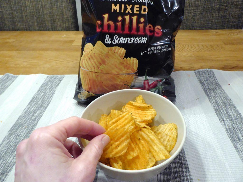 Grovräfflade chips med hetta!