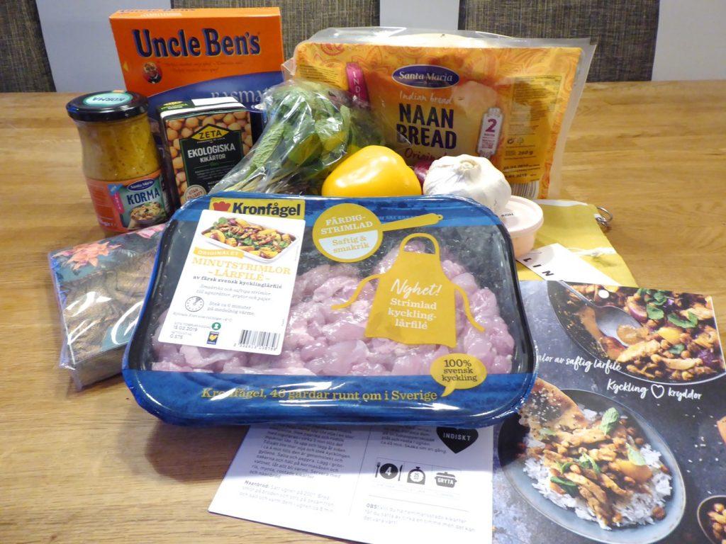 Ingredienser till att göra en kormagryta med kyckling!