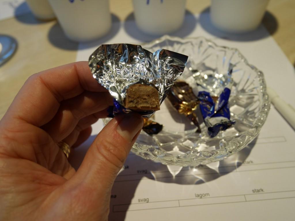Äntligen dags för höjdpunkten - chokladprovning.