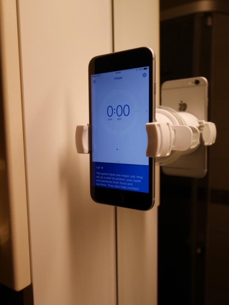 Via en app i telefonen kan du ha koll på tandborstningen.