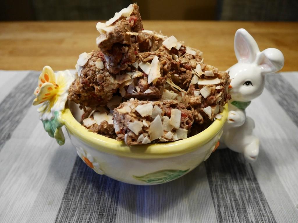 Choco-kokos-bit med torkad frukt och bär