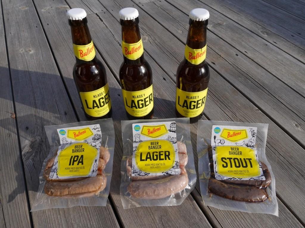Bullens Bear Banger är tre sorters korvar smaksatta med riktigt öl.