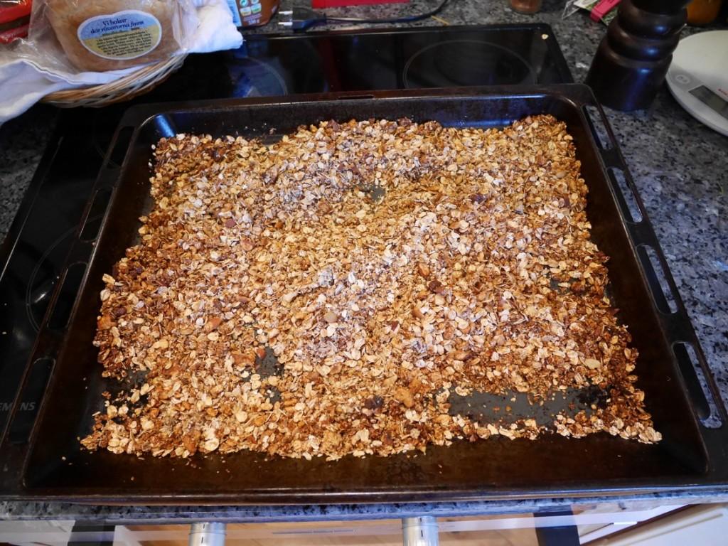 Efter 20 minuter har granolan rostats klart.