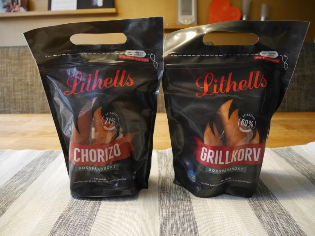 Bokspånsrökt grillkorv och chorizo.