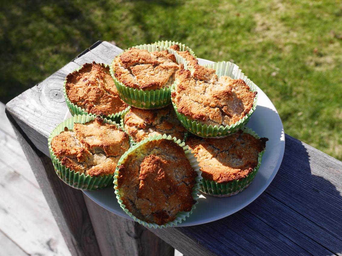 nyttiga muffins med banan