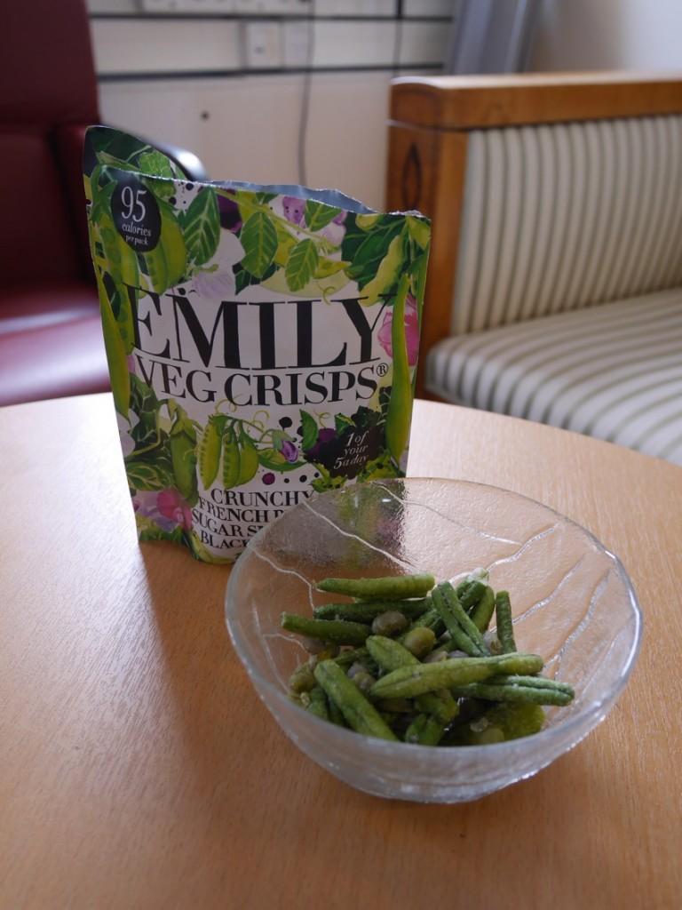 Galet goda nyttiga snacks från Emily Crisps.