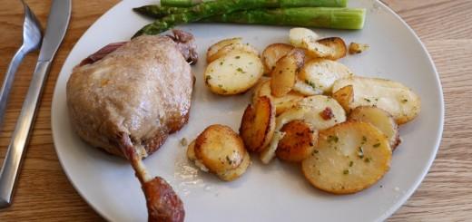 Anklår, potatis och sparris. Mums!