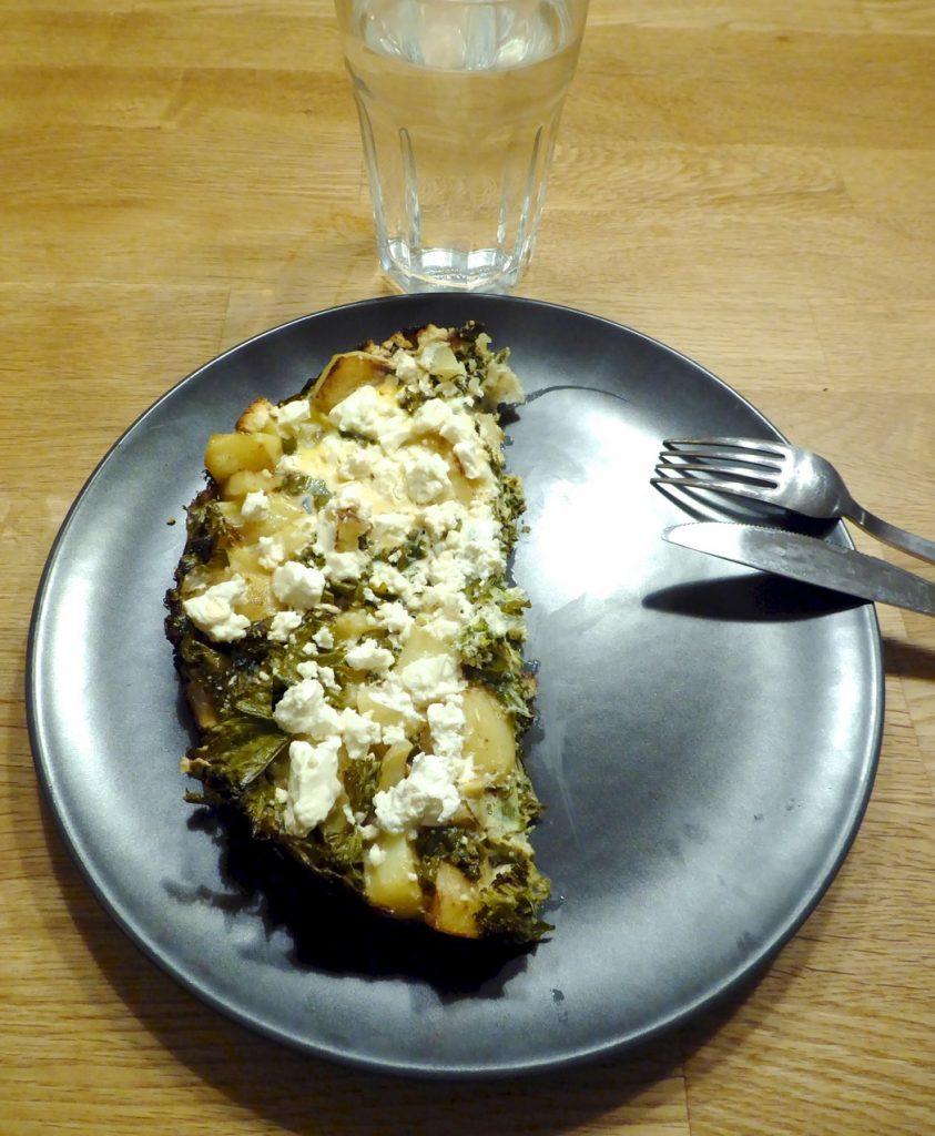 Frittata med grönkål och fetaost