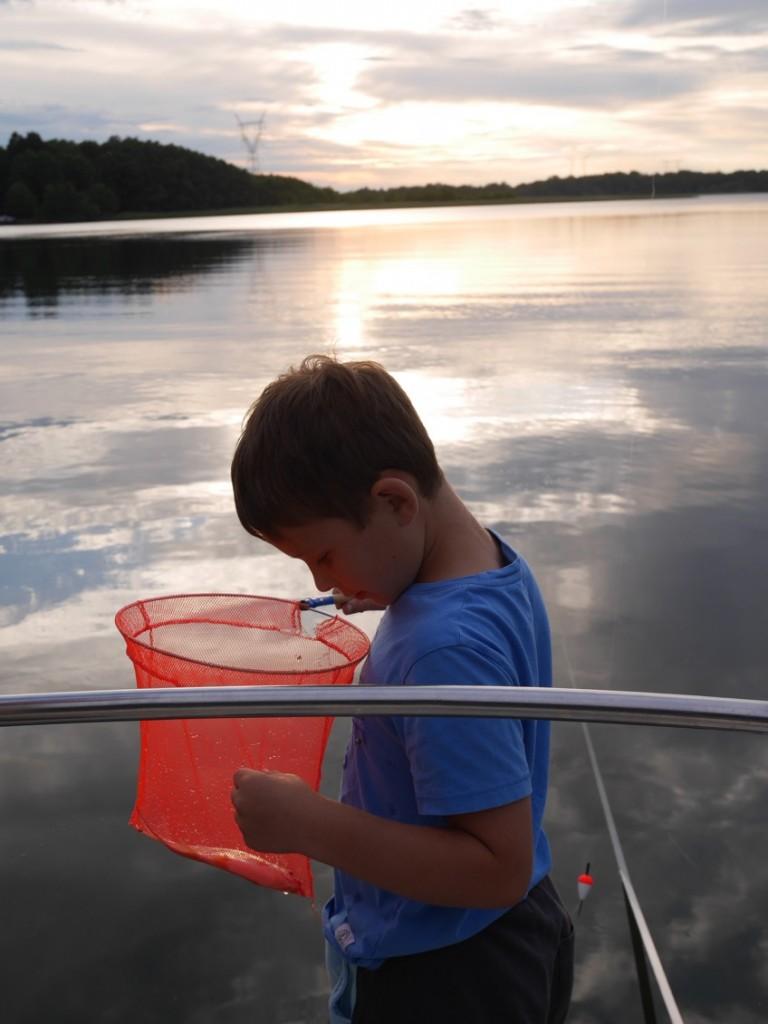 Fiske i solnedgången.