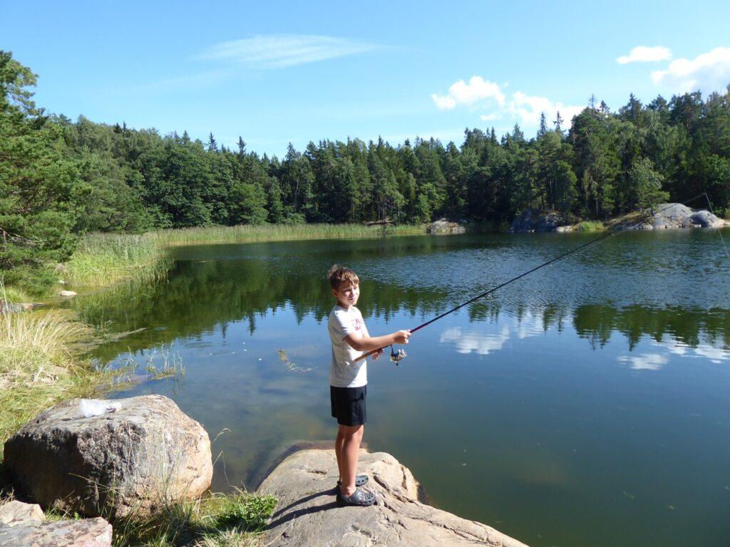 Fiske i lagunen.