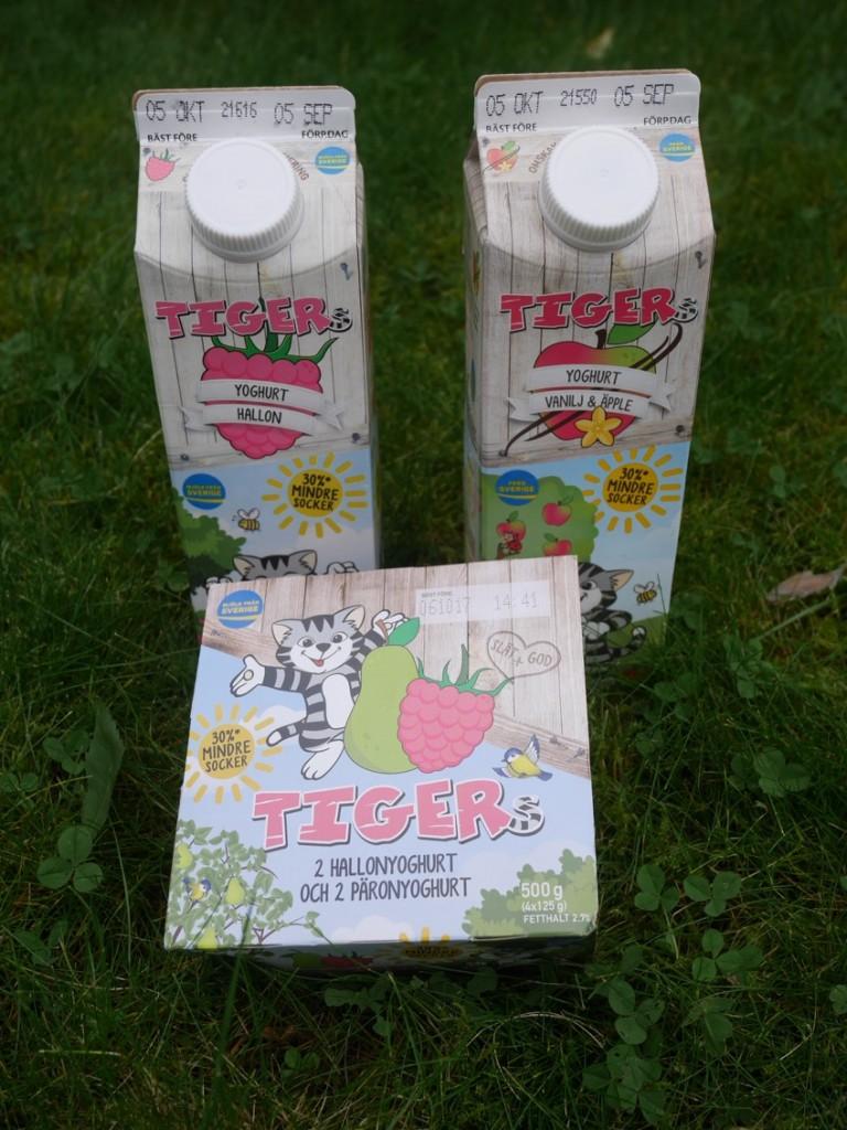 Tigers yoghurt finns både i tetra på 1 liter samt små bägare.