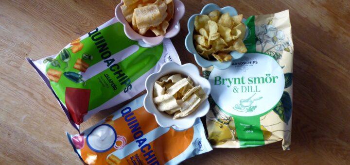 Quinochips Jalapeño, Quinochips Sourcream & onion och Potatischips Brynt smör och dill.