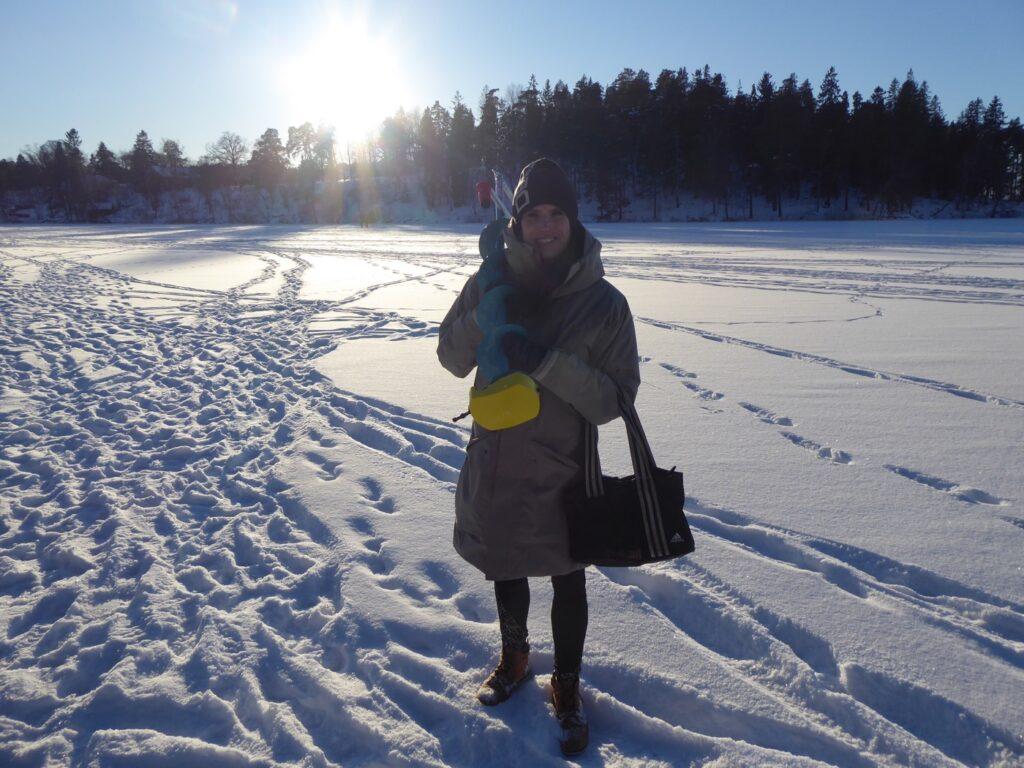 Vinterfiske vid Görvälns slott.