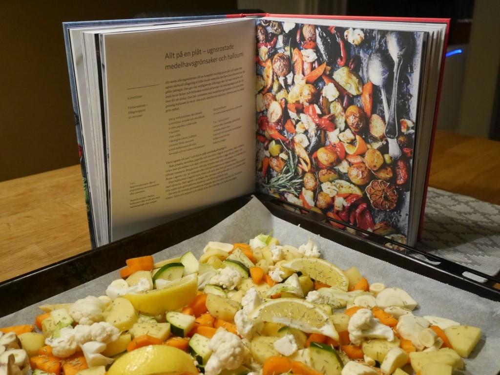 Recept på Ugnsrostade medelhavsgrönsaker och halloumi.