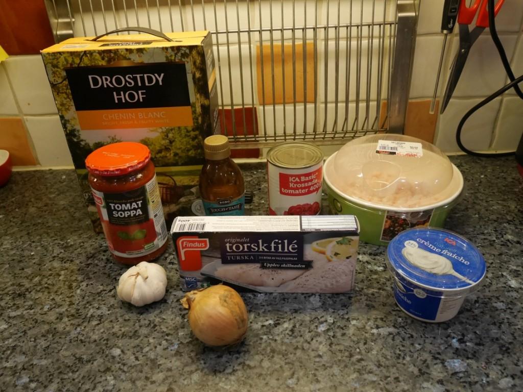 Ingredienser till Fisksoppa med räkor i Crock Pot