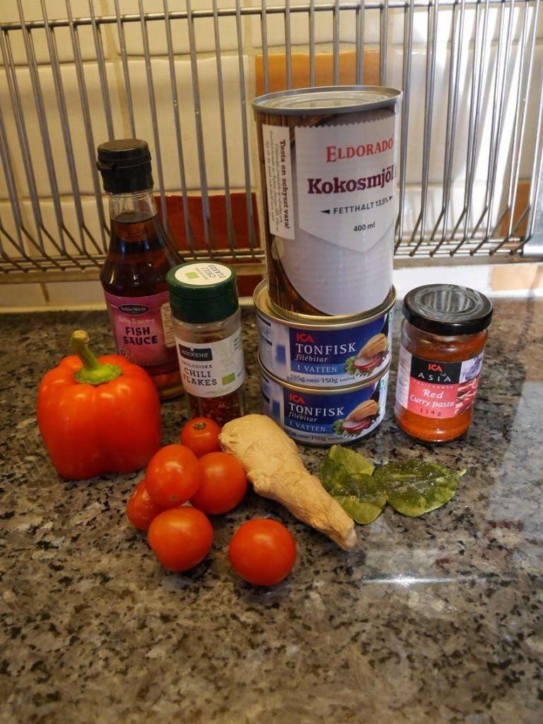 Ingredienser till Thailändsk tonfiskgryta